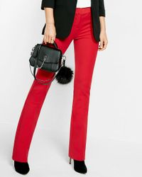 Express | Red Mid Rise Barely Boot Extreme Stretch Columnist Pant | Lyst