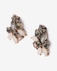Express - Black Mini Flower Mixed Stone Post Earrings - Lyst