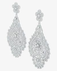 Express - Metallic Rhinestone Filigree Drop Earrings - Lyst