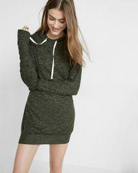 Express | Green Marled Hooded Sweatshirt Dress | Lyst