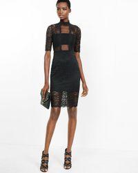 Express | Black Lace Mock Neck Sheath Dress | Lyst