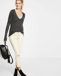 Express   Gray Fitted V-neck Sweater   Lyst