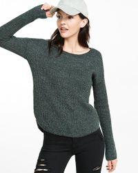 Express - Green Crew Neck Shaker Knit Sweater - Lyst