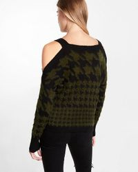 Express - Green Fuzzy Houndstooth Print Cold Shoulder Sweater - Lyst