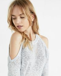 Express   Multicolor Open Stitch Cold Shoulder Crew Neck Sweater   Lyst