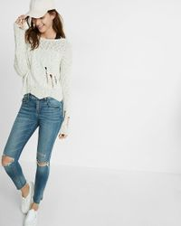 Express | Multicolor Distressed Jagged Hem Cropped Sweater | Lyst