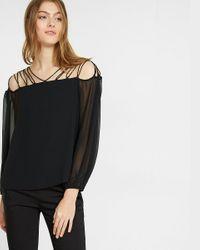 Express | Black Petite Lace-up Shoulder Blouse | Lyst