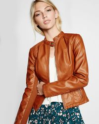 Express | Brown Double Peplum (minus The) Leather Jacket | Lyst