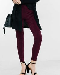 Express - Purple Plum Seamed Faux Suede Legging - Lyst