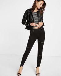 Express - Black High Waisted Ponte Knit Slash Zip Moto Legging - Lyst