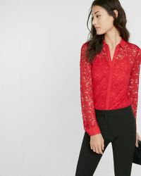 Express | Red All-over Lace Button Front Shirt | Lyst