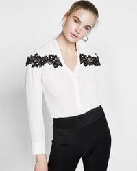 Express - White Slim Fit Lace Inset No Pocket Portofino Shirt - Lyst