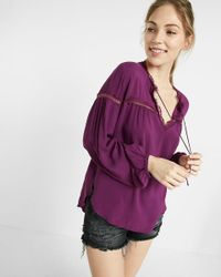 Express | Purple Lace Inset Tie Neck Blouse | Lyst