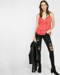 Express | Red Floral Double Layer Cami | Lyst