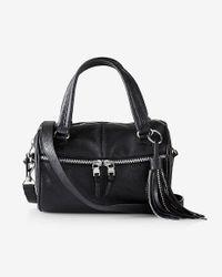 Express - Black Embellished Tassel Satchel - Lyst