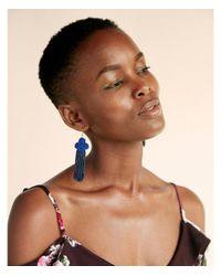 Express - Blue Seed Bead Fringe Drop Earrings - Lyst
