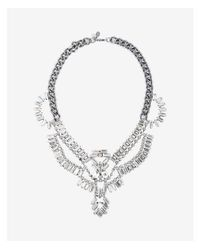 Express - Metallic Baguette Stone Statement Necklace - Lyst