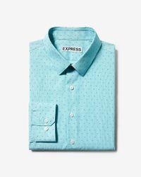 Express Blue Extra Slim Fit Diamond Dress Shirt for men
