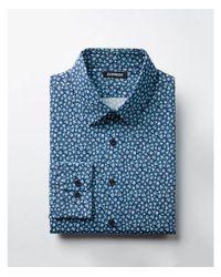Express - Blue Slim Fit Cotton Floral Dress Shirt for Men - Lyst