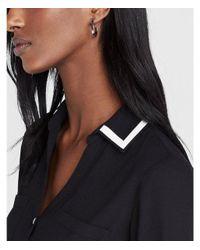 6cd5c2a5544b Lyst - Express Slim Fit Contrast Piped Cuff Portofino Shirt in Black