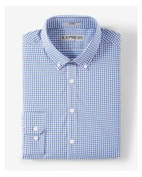 Express - Blue Modern Fit Small Plaid Performance Dress Shirt for Men - Lyst