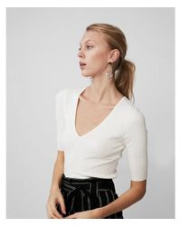 Express - White Elbow Sleeve Ribbed Pullover Sweater - Lyst