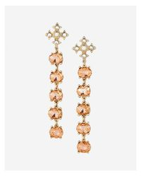 Express - Pink Five Stone Linear Drop Earrings - Lyst
