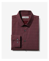 Express | Red Extra Slim Patterned Long Sleeve Dress Shirt for Men | Lyst