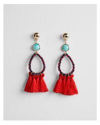 Express - Red Tassel Teardrop Earrings - Lyst