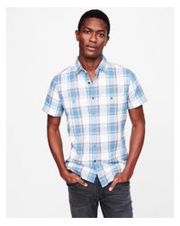 Express - Blue Soft Wash Plaid Short Sleeve Double Weave Shirt for Men - Lyst