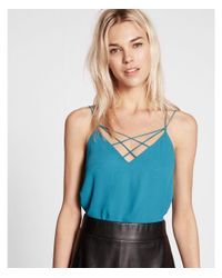 Express - Blue Strappy Crisscross Cami - Lyst