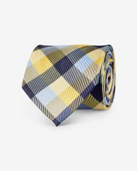 Express - Blue Checked Narrow Silk Tie for Men - Lyst