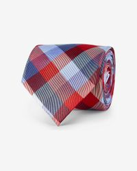 Express - Red Check Print Narrow Silk Blend Tie for Men - Lyst