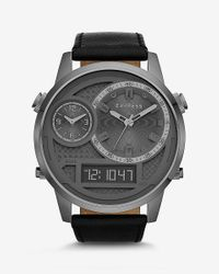 Express | Black Extra Large Analog And Digital Leather Strap Watch for Men | Lyst