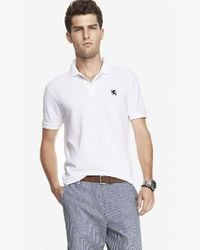 Express | White Small Lion Pique Polo for Men | Lyst