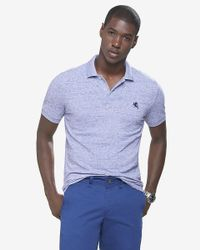 Express | Blue Fitted Small Lion Pique Polo for Men | Lyst