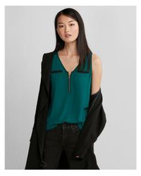 Express - Green Piped Zip Front Tank - Lyst