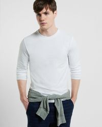 Express - White Flex Stretch Cotton Long Sleeve Tee for Men - Lyst