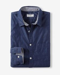 Express | Blue Soft Wash End-on-end Button Collar Shirt for Men | Lyst