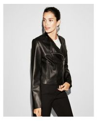 Express - Black Faux Leather Collarless Moto Jacket - Lyst