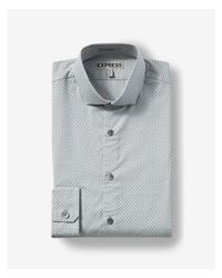 Express - Gray Fitted Micro Dash Print Dress Shirt for Men - Lyst
