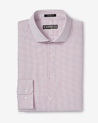 Express - Red Modern Fit Micro Print Dress Shirt for Men - Lyst