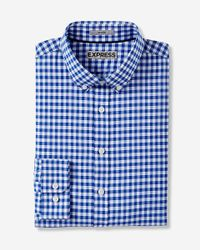 Express | Blue Fitted Easy Care Check Shirt for Men | Lyst