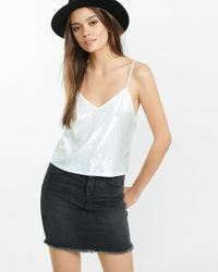 Express | White All-over Sequin Embellished Abbreviated Cami | Lyst