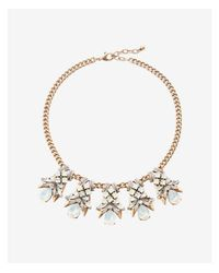 Express - Metallic Xed Stone Pendant Statement Necklace - Lyst