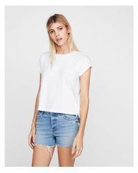 Express - White One Eleven Abbreviated Boxy Tee - Lyst