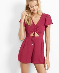 Express - Red Berry Ruched Cut Out Front Romper - Lyst