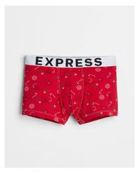 Express - Red Holiday Print Sport Trunks for Men - Lyst