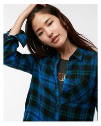 Express - Blue And Green Plaid Flannel Shirt - Lyst