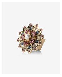 Express - Metallic Embellished Flower Ring - Lyst